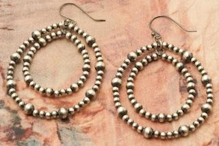 Navajo Sterling Silver Pearl Hoop Earrings