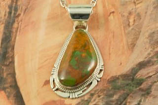 Southwestern Desert Necklace Crow Springs Turquoise Ribbon Sterling Silver /& Copper Pendant Statement DesertTriangle Necklace