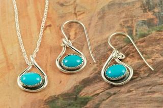 33c29c941 Sleeping Beauty Turquoise Pendant and Earrings Set: Treasures of the  Southwest