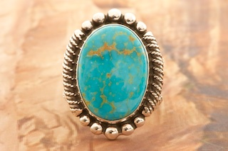 Sterling silver and Kingman turquoise ring
