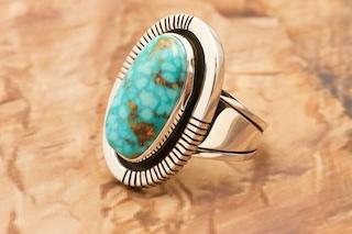 Kingman Spiderweb Turquoise Ring Size 3 12