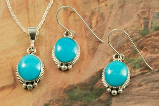 Sleeping Beauty Turquoise Pendant And Necklace Set