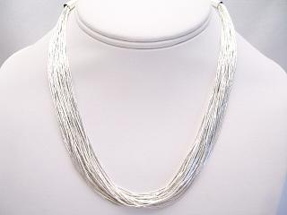 8d36f261f861c 30 Strand Liquid Silver Necklace - 16 inches long.