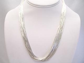 985889b88a519 30 Strand Liquid Silver Necklace - 18 inches long.