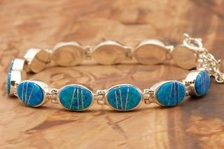 Turquoise Mother of Pearl and White Opal Bracelet in Sterling Silver