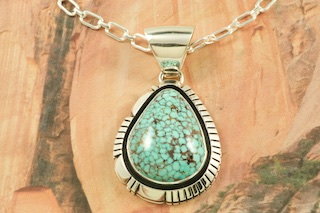 Turquoise pendants genuine high grade kingman turquoise set in sterling silver pendant created by navajo artist jimmy mozeypictures Image collections