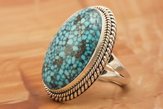 Kingman Turquoise Ring Size 8 Sterling Silver
